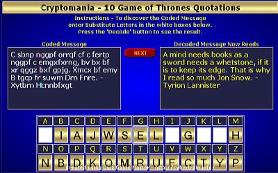 Cryptomania - Game of Thrones Quotes